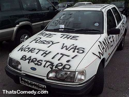 One Angry Woman One Can Of Spray Paint One White Car